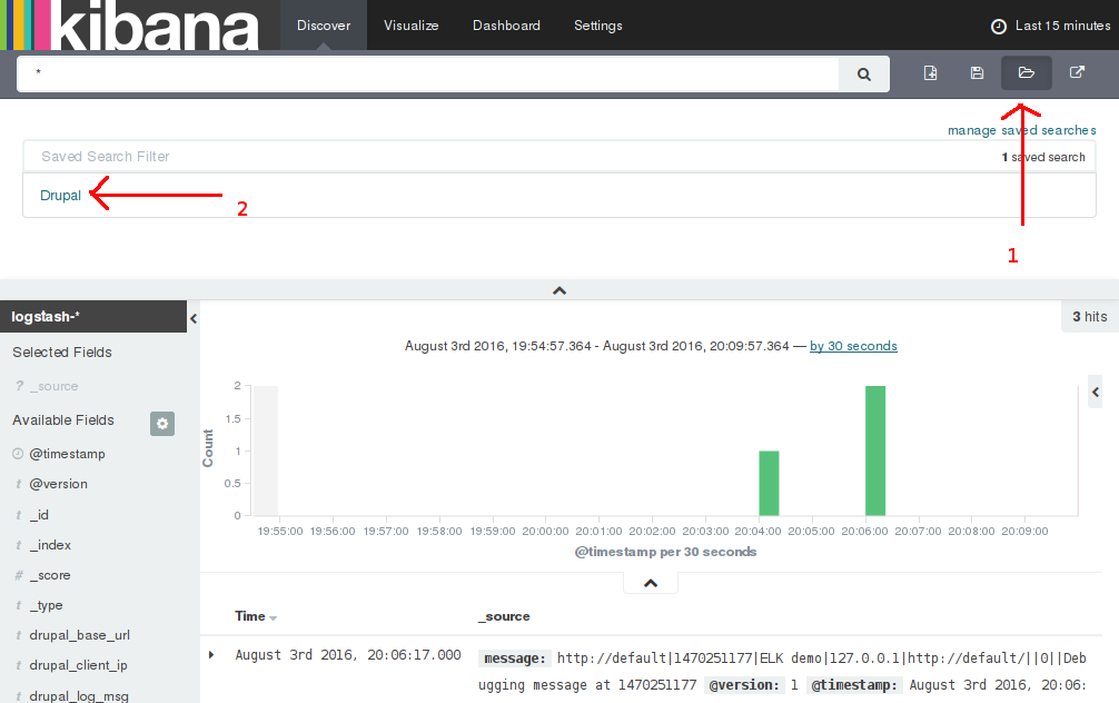 Selecting Kibana's Drupal search filter.