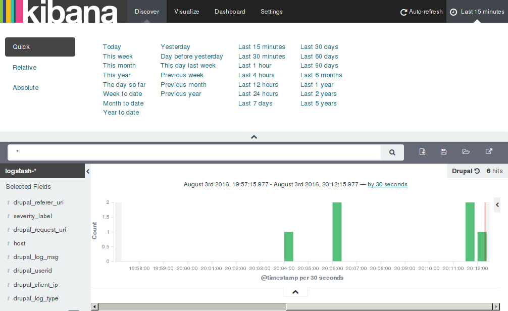 Search interval selection in Kibana.