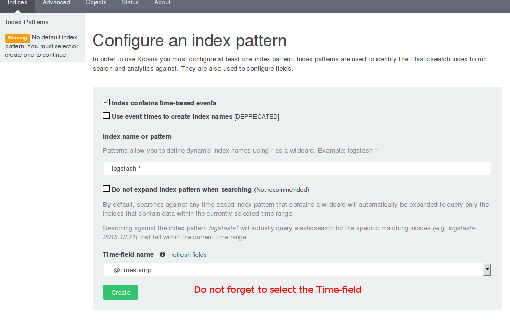 Kibana's index setup page.